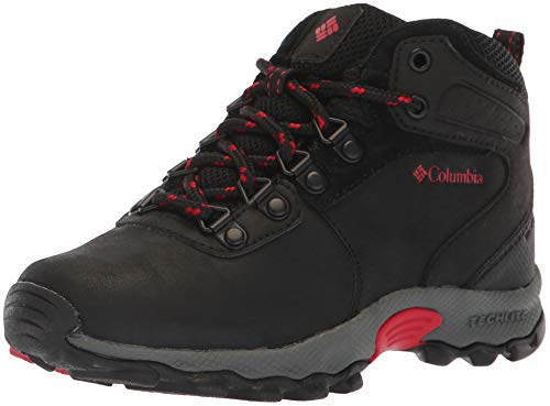 Image of Columbia Boys' Youth Newton Ridge Hiking Shoe, Black, Mountain Red, 6 Wide US Big Kid