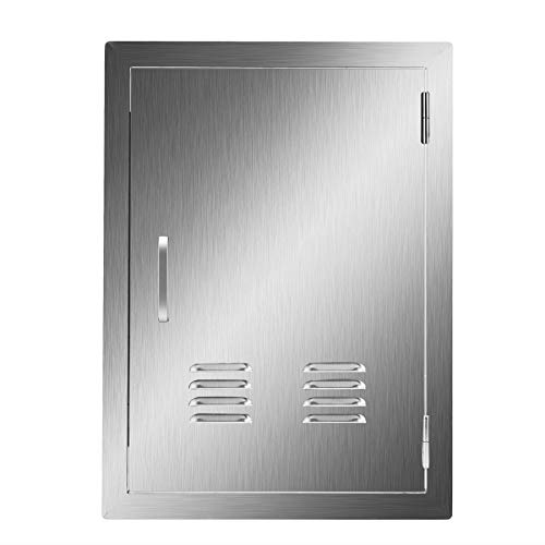 CO-Z Stainless Steel Access Door, 304 Brushed SS Single BBQ Doors with Vents for Outdoor Kitchen, Commercial BBQ Island, Grilling Station, Outside Cabinet, Barbeque Grill, Flushmount (14