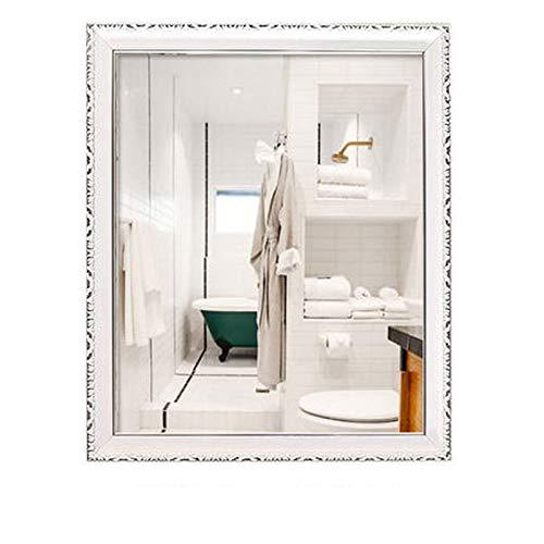 XAOPN Wall-Mounted Mirrors, Bathroom Mirror Wall Mounted Vanity Mirror Washbasin Mirror Wall Mounted Beauty Salon Mirror (Color : Imitation Porcelain White, Size : 60X80cm)