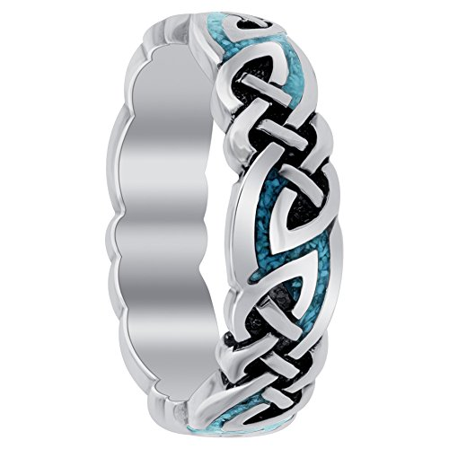 Gem Avenue 925 Sterling Silver Southwestern Style Turqouise Gemstone Celtic 6mm Band Ring Size 12