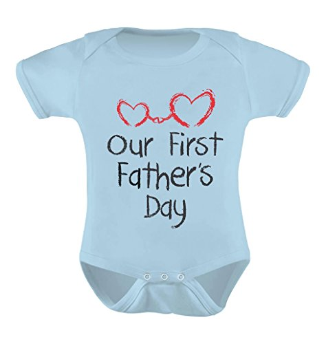 Our First Daddy and Me Cute Infant Baby Bodysuit 6M Aqua -