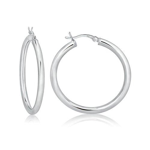 925 Sterling Silver Hoop Earrings 35mm/3mt - Hoop Silver Earrings Sterling 35mm