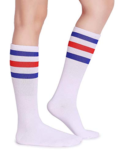 Pareberry Classic Triple Stripes Soft Cotton On the Calf Retro White Tube Socks (A-pair(Blue/Red/White))