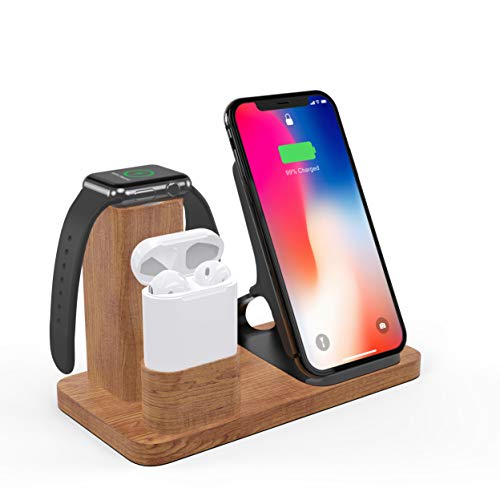 Apple 01 - Wireless Charger Stand, OLVOO 3 in 1 Charging Station Docks for AirPods Apple Watch Series 4/3/2/1 iPhone X/8/8 Plus iPhone Xs/XR/XS MAX(Wood)