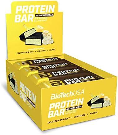 BioTechUSA Protein Bar, ballaststoffreicher Riegel mit 21 g Protein und niedrigem Zuckergehalt, gluten-und palmölfrei, 16 * 70g, Banane