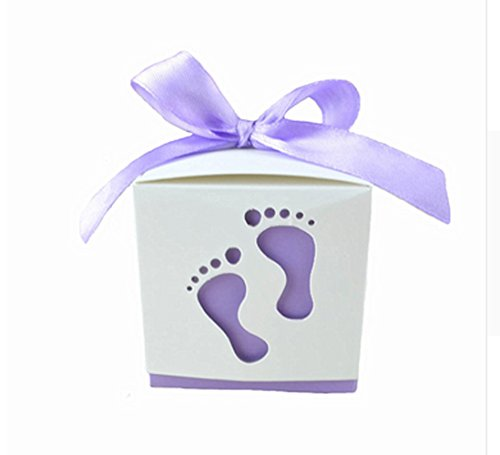 (Crazy Night 50PCS Laser Cute Baby Shower Party Birthday Decorations Gift Boxes Wedding Favor Ribbons Candy Boxes Candy Box feet Shape Party (Light Purple))