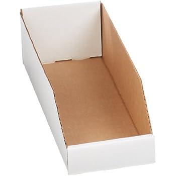 "Aviditi BINBWZ618 Corrugated Open Top Bin Box, 18"" Length x 6"" Width x 4-1/2"" Height, Oyster White (Case of 50)"