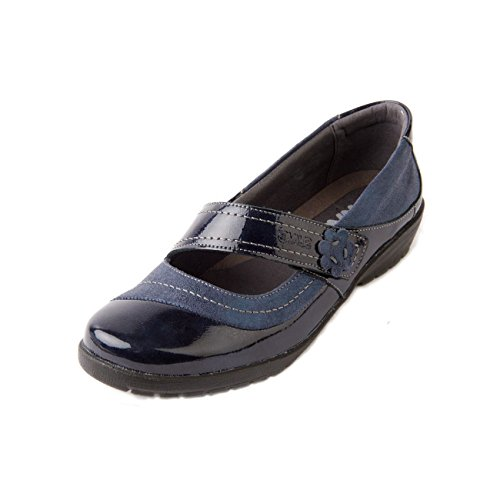 Suave Shoe Patent Cushioned E Wide Insole Navy Fastening Touch Washable Sparkle amp; Leather Removable Women's 'joy' Footbed ee Fit wHqw4rp