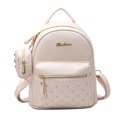 (ABage Women's Mini PU Leather Quilted Travel Cute Backpack Purse Handbag Daypack, Beige)