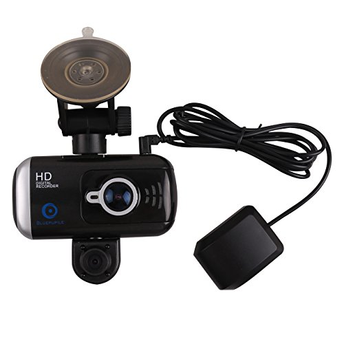 bluepupile dual dash cam with gps 3 0 inch dual camera 1080p for taxi driver with sos loop. Black Bedroom Furniture Sets. Home Design Ideas