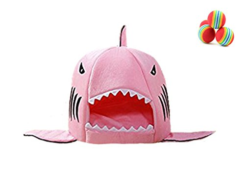 cat-bed-cave-mg-house-pink-shark-pet-house-with-removable-bed-cushion-mat-for-large-cat-dog-cave-bed