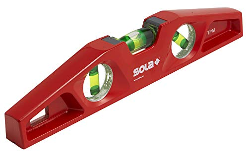 SOLA LSTFM Aluminum Die-Cast Magnetic Torpedo Level with 3 60% Magnified Vials, 10-Inch, Red