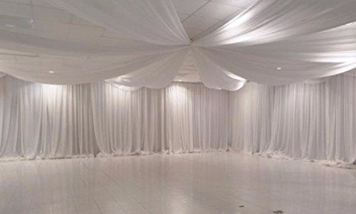 WHITE Sheer Wedding Backdrop drape draping Voile Panel 10 ft x 21 ft
