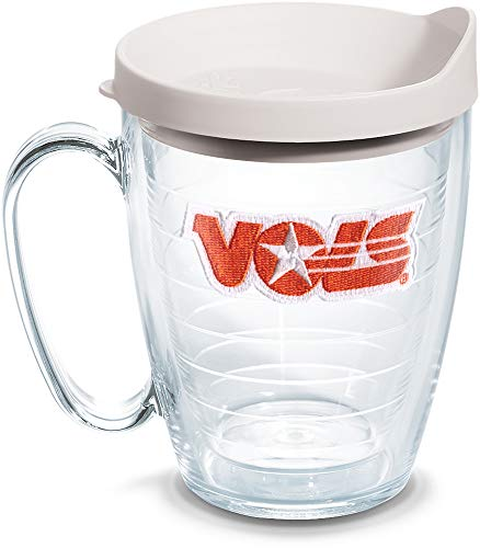 Tervis 1087328 Tennessee Volunteers College Vault Logo Tumbler with Emblem and White Lid 16oz Mug, Clear