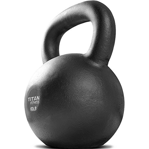 Cast Iron Kettlebell Weight 60 lb Natural Solid Titan Fitness Workout Swing