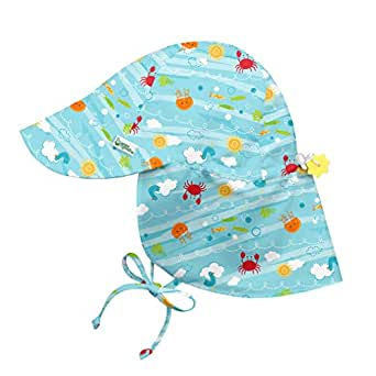 i play. Baby Flap Sun Protection Hat-Light Aqua Sea Friends, Aqua, 0/6mo
