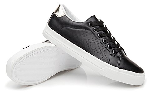 Frauen Damenmode oben rutschfeste schnüren für Turnschuhe VECJUNIA sich flache Schuhe schwarz zA7dxnnW