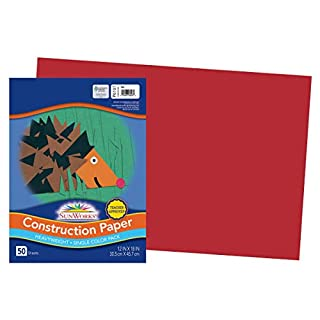 "SunWorks Construction Paper, Red, 12"" x 18"", 50 Sheets"