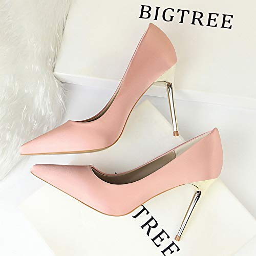 High Pointed Heels Women'S Shallow Pink Green Silk Black Elegant Professional High heels Yukun Satin Shoes Stiletto Autumn Cvxqzg8