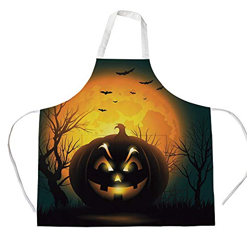 iPrint Cotton Linen Apron,Two Side Pocket,Halloween,Fierce Character Evil Face Ominous Aggressive Pumpkin Full Moon Bats Decorative,Orange Dark Brown Black,for Cooking Baking Gardening]()
