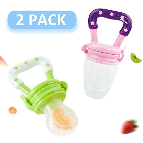 MiChef Food Feeder, Baby Fresh Fruit Feeder Teether Nibbler, Infant Teething Toy, Silicone Pouches (2 Pack) (Sassy Feeder Baby Food Bottle)