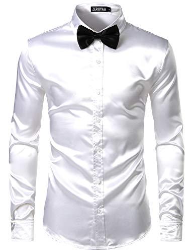 ZEROYAA Men's Luxury Shiny Silk Like Satin Button Up Dress Shirts