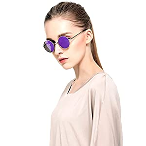 2016 Sexy Retro Oversized Large Round Sunglasses For Women Rainbow Mirrored (Purple, As Picture)