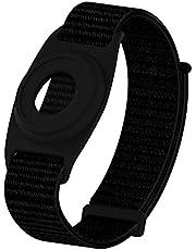 Geiomoo Siliconen Hoesje Nylon Bandje Compatibel met Air Tag, Tracker Hoes Polsbandje voor Kid (Zwart)