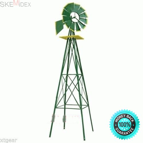 SKEMiDEX---8FT Green Metal Windmill Yard Garden Decoration OutDoor Gardening Deco 8 Feet. This beautiful windmill's heavy steel construction is the perfect addition to any backyard or garden