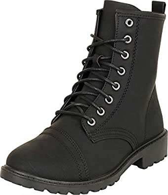 Cambridge Select Women's Classic Round Toe Lace-Up Chunky Lug Sole Low Heel Combat Boot Black Size: 6