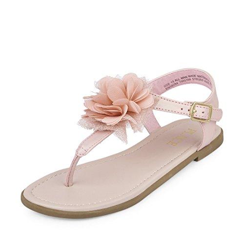The Children's Place Girls' BG Flower Zahara Flat Sandal, Pink Blush, Youth 5 Medium US Big Kid (Pink Girls Youth Sandals)