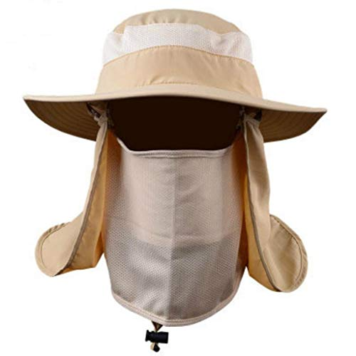 Islandse_Outdoor Fishing Hat Sun Protection Neck Face Flap Cap Wide Brim for Men Women (Khaki)