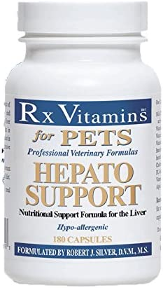 Rx Vitamins for Pets Hepato Support for Dogs Cats – Veterinary Nutritional Formula for Liver Support – Hypoallergenic – 180 Capsules