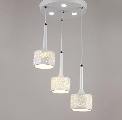 GL&G Modern living room iron chandelier Pendent Light for Hallway,Bedroom,Kitchen,Kids Room,LED Bulb Included, Warm White Light,3 head,1726cm by GAOLIGUO
