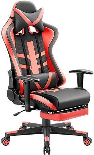 Homall Ergonomic High-Back Racing Chair Leather Bucket Seat, Headrest, Footrest and Lumbar Support Black Red