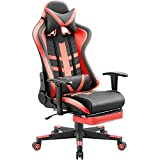 Homall Gaming Chair Ergonomic High-Back Racing Chair Pu Leather Bucket Seat,Computer Swivel Office Chair Headrest and Lumbar Support Executive Desk Chair with Footrest (Red)