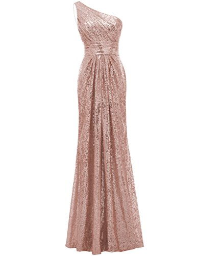 SOLOVEDRESS Women's Mermaid One Shoulder Sequined Long Bridesmaid Dresses Wedding Party Gown (US 16,Rose Gold)
