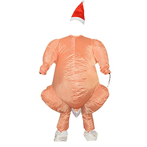CMrtew Inflatable Roast Turkey Costume Halloween Chicken for Adults Inflatable Christmas Fancy Dress Mascot Cosplay Costume Clothing (Orange, 160-190cm)]()