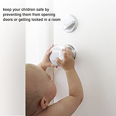 Door Knob Safety Cover for Kids, Child Proof Door Knob Covers, Baby Safety Doorknob Handle Cover Lockable Design. (4 Pack)
