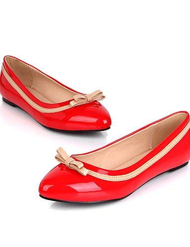 piel us6 red punta plano de uk4 negro cn36 Casual eu36 PDX Toe talón sintética de zapatos mujer rosa Flats rojo ZIn0q8aw