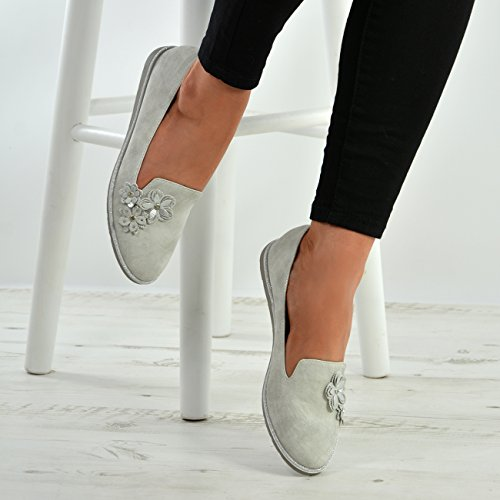Womens Silver 3 Ladies Front Flats Shoes Flowers Fashion Cucu Slip Court UK Pumps Sizes On 8 5EwnFEOSZq