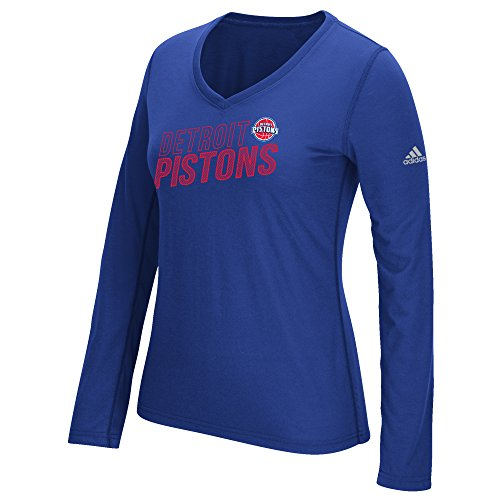 Women's Stacked Long Sleeve Ultimate Tee, X-Large, Blue (Adidas Detroit Pistons Basketball)