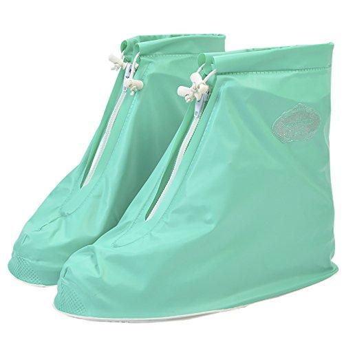 QZUnique Womens Waterproof Rubber Rain Boots Anti-slip Ankle High Rain Shoes Green aYiyO36kA