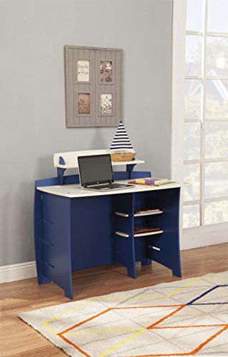 Legaré Kids Furniture Race Car Series Collection, No Tools Assembly 43-Inch Complete Desk System with File Cart, Blue and White