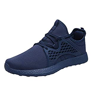 INZCOU Womens Air Knitted Blue Running Shoes Non Slip Tennis Athletic Lightweight Breathable Mesh Gym Sneakers 7.5 M US Dark Blue