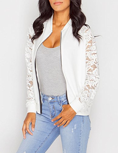Iumer Lace sleeves Jacket Women's Lace Patchwork Floral Vintage Bomber Jacket Short Coat by IumerIU