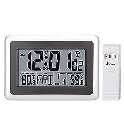 Large Display Digital Wall Desk Alarm Clock with Date Calendar Outdoor/Indoor Temperature (With Outdoor Sensor)