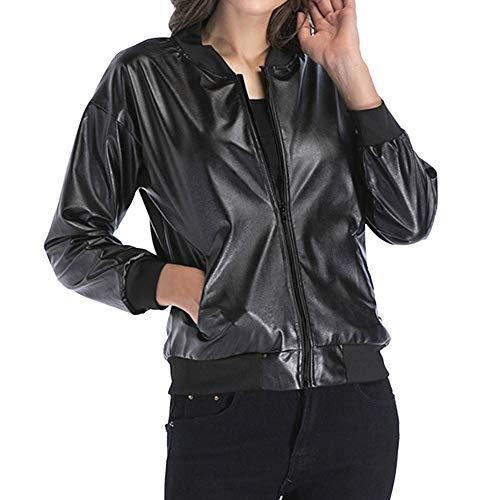VonVonCo Leather Fashion Casual Sleeve Jacket Ladies Women Black Slim Long Blazer qqpTB