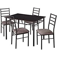 Target Marketing Systems Liv Collection Contemporary 5 Piece Metal Dining Room Table and Chairs Set , 1 Table and 4 Chairs, Black