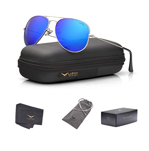 LUENX Men Women Aviator Sunglasses Polarized Mirrored Dark Blue Lens Silver Frame UV 400 60 MM with Accessories Classic Style ()